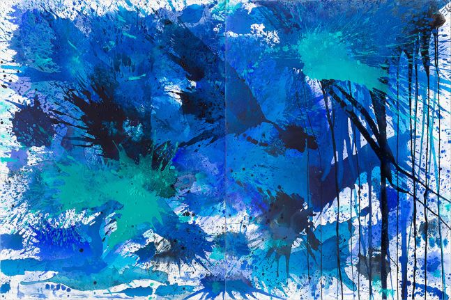 J. Steven Manolis, BlueLand Splash, 2015, Acrylic painting on canvas, 48 x 72 inches, Extra large Wall Art, Blue Abstract Art for sale at Manolis Projects Art Gallery, Miami, Fl