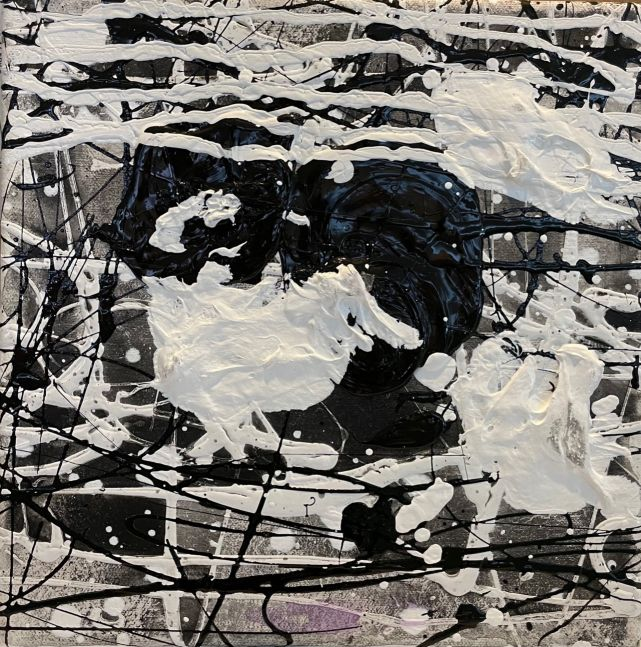 J. Steven Manolis, Black & White, 10.10.21, 2019, Acrylic and Latex Enamel on canvas, 10 x 10 inches, Black and White Abstract painting, Abstract expressionism paintings for sale at Manolis Projects Art Gallery, Miami, Fl