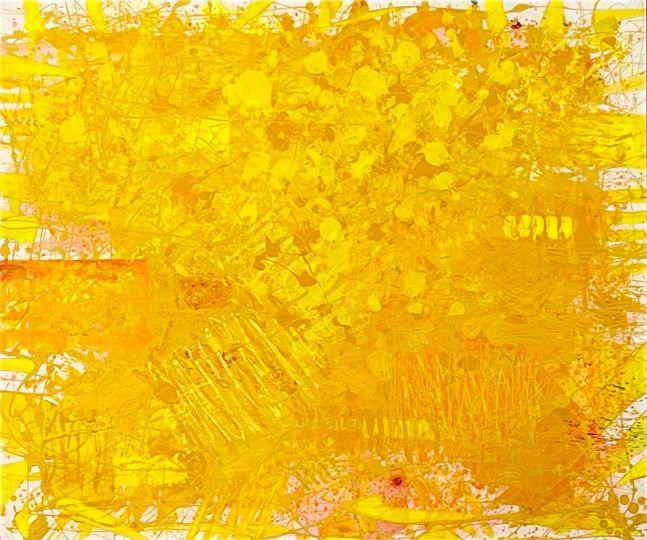 J. Steven Manolis, Sunshine, 2021, Acrylic on canvas, 60 x 72 inches, yellow abstract art
