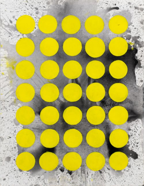 J. Steven Manolis, Sunshine (The Light After the Darkness)(30.22.03), 2020, Watercolor and acrylic on arches paper, 30 x 22 inches, Sunshine art, Yellow and black Abstract Art for Sale at Manolis Projects Art Gallery, Miami Fl
