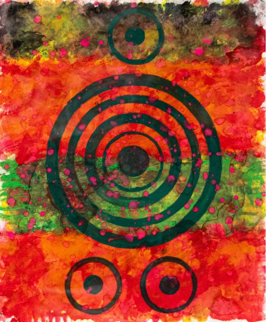 J. Steven Manolis, REDWORLD Concentric, 2016.01, 17Hx14W, Watercolor, Goauche & Acrylic on Arches Paper, Red Abstract Painting, Red Abstract wall art  for sale at Manolis Projects Art Gallery, Miami, Fl