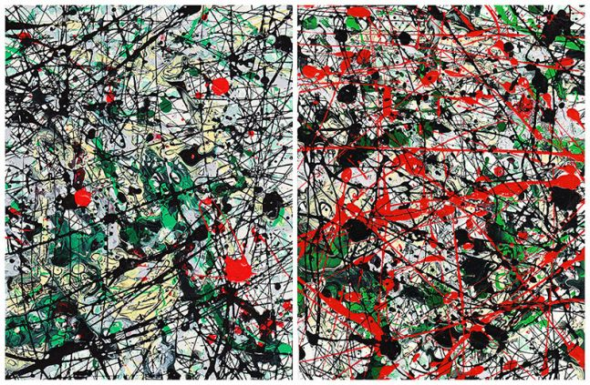 J. Steven Manolis, Chaos Red, Green, Black, Grey & Vanilla-2002.1&2, enamel and oil on paper, 11.75 x 18 inches, For sale at Manolis Projects Art Gallery, Miami Fl