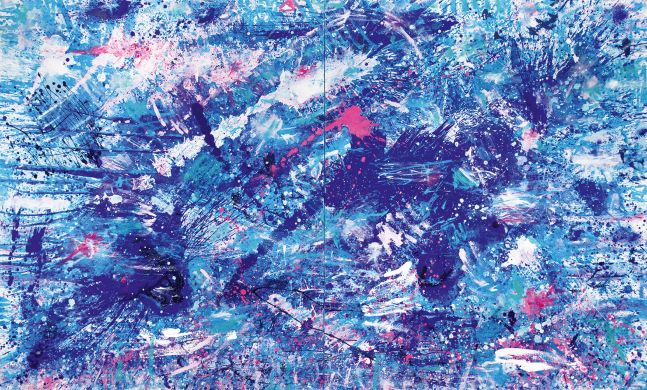 J. Steven Manolis, Splash (Pink Sands), 2016, 72 x 120 inches, Acrylic paintings on canvas, Extra large Wall Art, Blue Abstract Art for sale at Manolis Projects Art Gallery, Miami, Fl