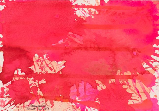 J. Steven Manolis, Flamingo 1832-2016 (Key West) 7.10.04, watercolor painting on paper, 7 x 10 inches, Pink Abstract Art, Tropical Watercolor paintings for sale at Manolis Projects Art Gallery, Miami, Fl