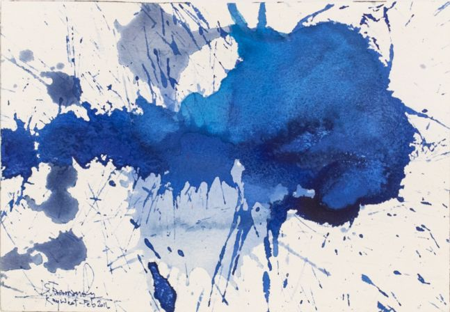 J. Steven Manolis, Splash (Key West) 07.10.02, 2016, watercolor painting on paper, 7 x 10 inches, Blue Abstract Art, Splash Art for sale at Manolis Projects Art Gallery, Miami, Fl