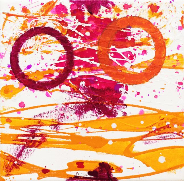 J. Steven Manolis, Flamingo 10.10.06, 2020, acrylic-latex on canvas, 10 x 10 inches, Abstract expressionism paintings for sale at Manolis Projects Art Gallery, Miami, Fl