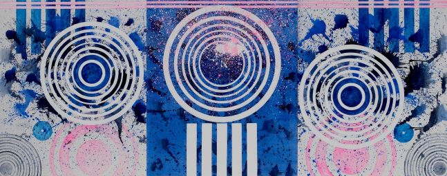 J. Steven Manolis, Palm Beach Formal (Triptych), 2018, Acrylic painting on canvas, 72 x 180 inches, Geometric Abstract Art for sale at Manolis Projects Art Gallery, Miami, Fl