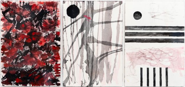 J. Steven Manolis, Self-Portrait, 2016, watercolor on paper, 10 x 21 inches, abstract expressionism art