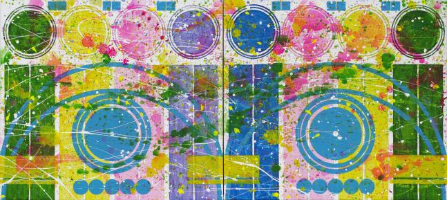 J. Steven Manolis, Orbs, 2018, Acrylic painting on canvas, 47 x 102.5 inches, Colorful Abstract painting, Abstract expressionism art For sale at Manolis Projects Art Gallery, Miami Fl