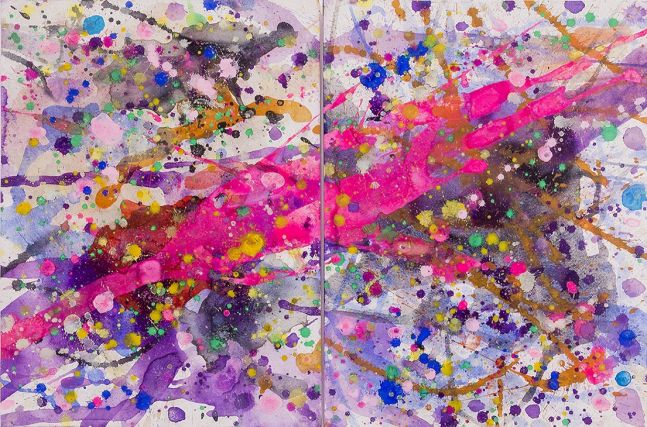 J. Steven Manolis, Pink Lightning 2014.01, watercolor and gouache on paper, diptych, 16 x 24 inches, 21 x 31 inches framed, Tropical Watercolor paintings, Miami Wall Art For sale at Manolis Projects Art Gallery, Miami Fl