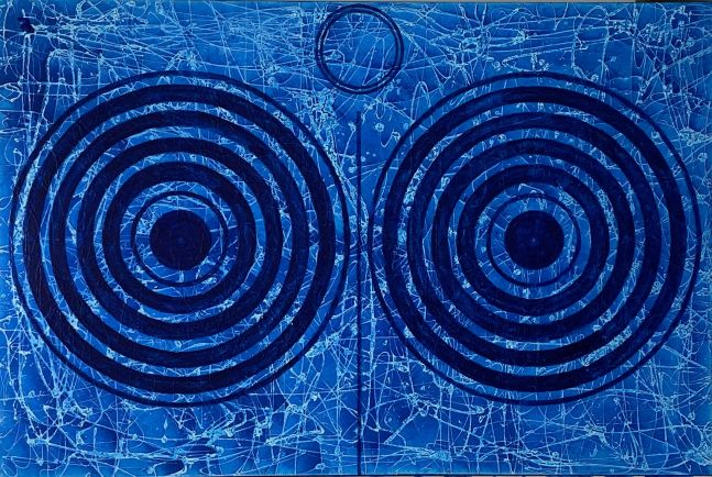 J. Steven Manolis, Splash (Concentric), 2018, Acrylic on canvas, 60 x 72 inches, Abstract expressionism paintings for sale at Manolis Projects Art Gallery, Miami, Fl