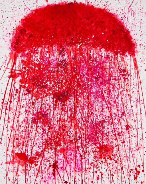 J. Steven Manolis, Jellyfish (REDWORLD), 2020, 60 x 48 inches, Acrylic on canvas, Acrylic Jellyfish painting, Jellyfish paintings for sale at Manolis Projects Art Gallery, Miami, Fl