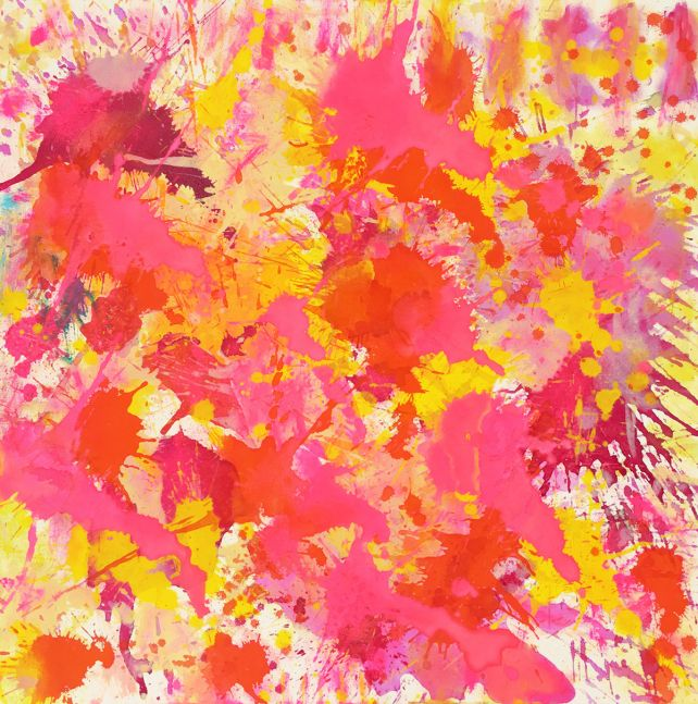 J. Steven Manolis, Flamingo (sun-filled), Acrylic on canvas, 30 x 30 inches, Abstract expressionism paintings for sale at Manolis Projects Art Gallery, Miami, Fl