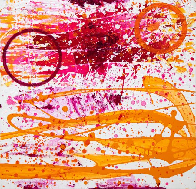 J. Steven Manolis, Flamingo, 2020, Acrylic and Latex Enamel painting on canvas, 24 x 24 inches, Flamingo Art, Abstract expressionism art for sale at Manolis Projects Art Gallery, Miami, Fl