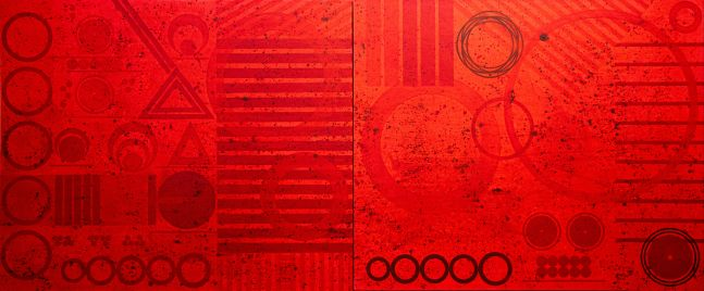 J. Steven Manolis, REDWORLD GLAZE (Self Portrait), 2020, 60 x 144 inches, Acrylic on Canvas, Red Abstract Art, Large Abstract Wall Art for sale at Manolis Projects Art Gallery, Miami, Fl