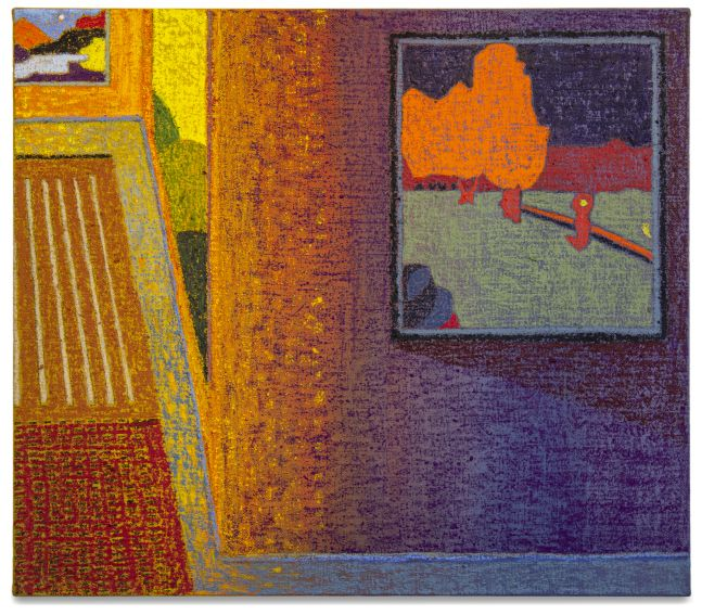 JJ Manford, Interior with Agnes Martin Rug & Vuillard Reproduction, 2020