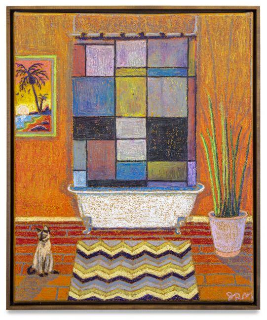 JJ Manford, Bathroom Scene with Mondrian Shower Curtain, Siamese Cat, and Beach Painting, 2019