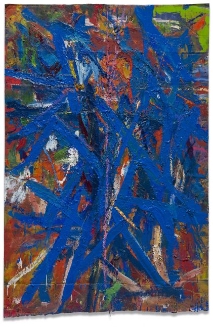 Spencer Lewis, Red and blue painting for the red and blue studio #2 with foot painting (Orange Basquiat head), 2016-17