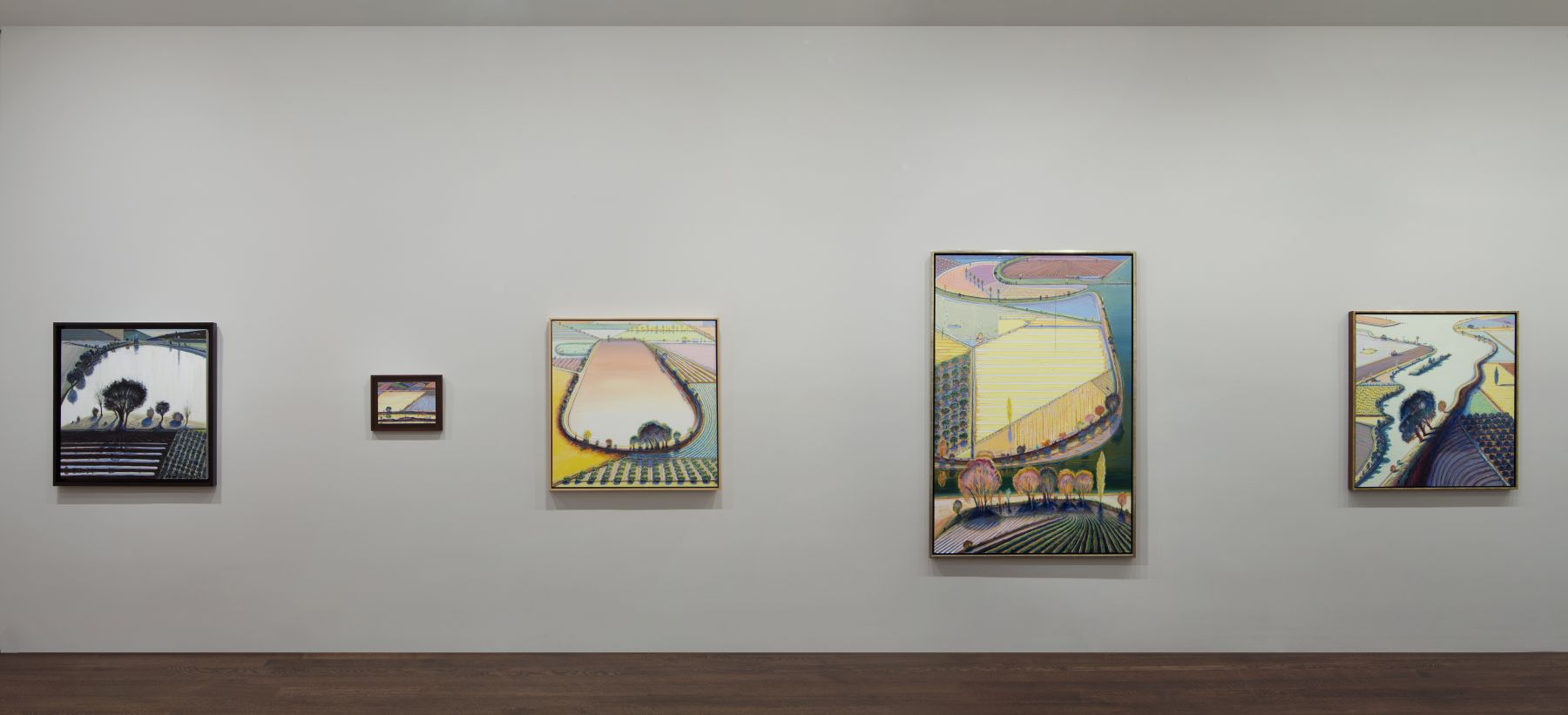 Installation view of Wayne Thiebaud: A Retrospective, October 22 - November 29, 2012.