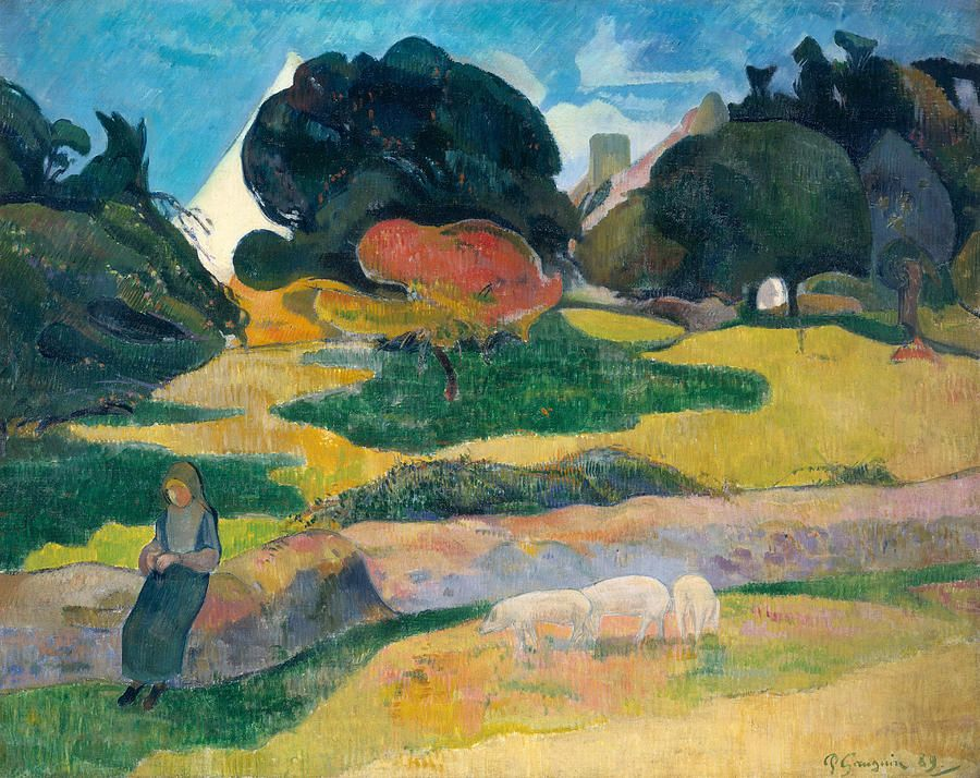 Gauguin Girls Herding Pigs
