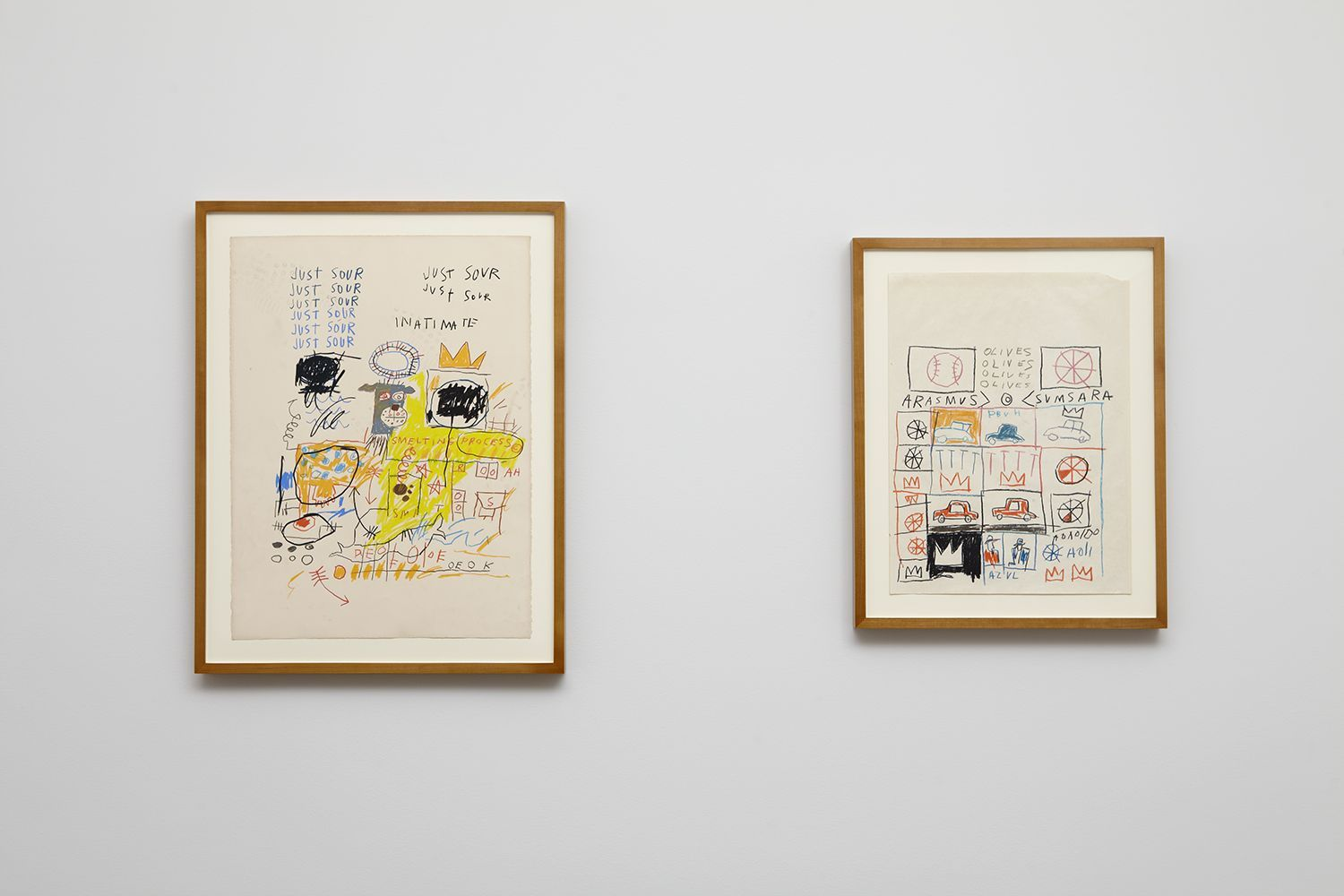 Installation view of Jean-Michel Basquiat Drawing: Work from the Schorr Family Collection, April 30 - June 12, 2014.