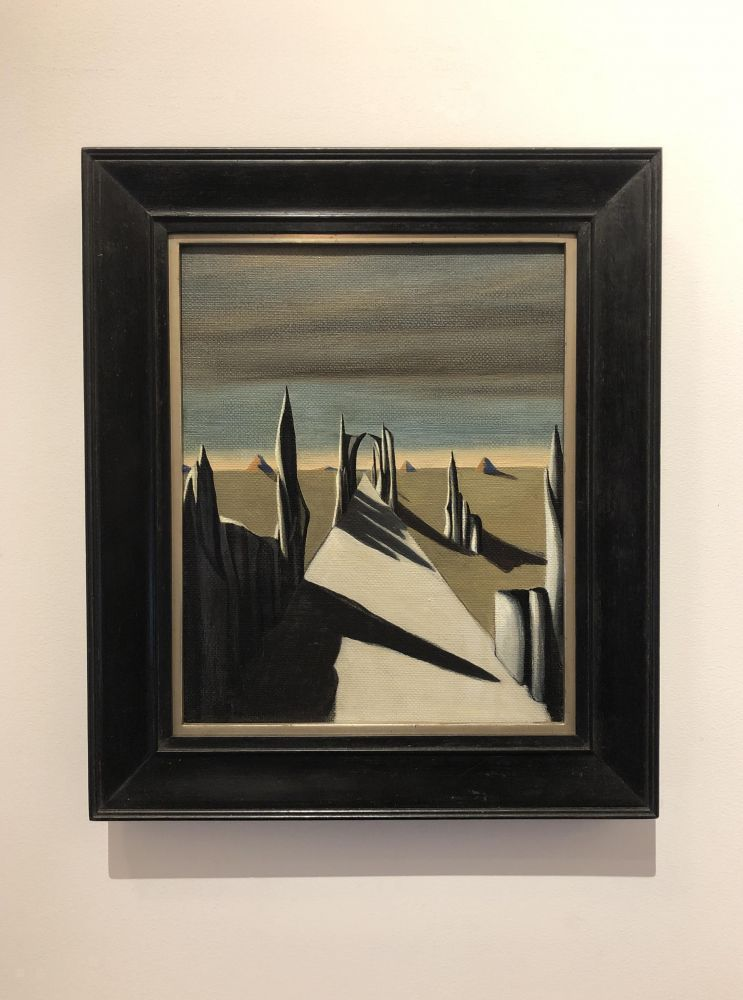 """Frame view of Kay Sage's painting """"White Silence."""""""