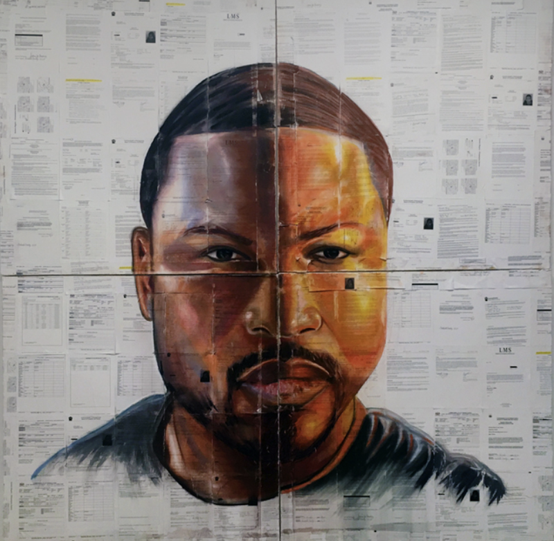Large self-portrait by Russell Craig.