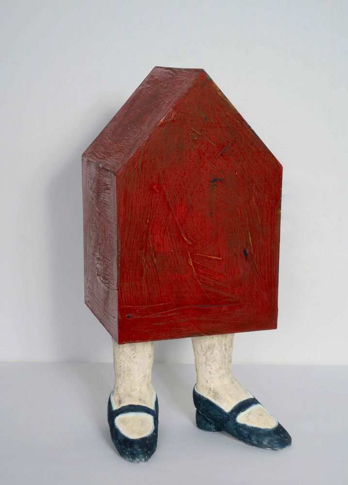 Clay, wood, paint, sculpture