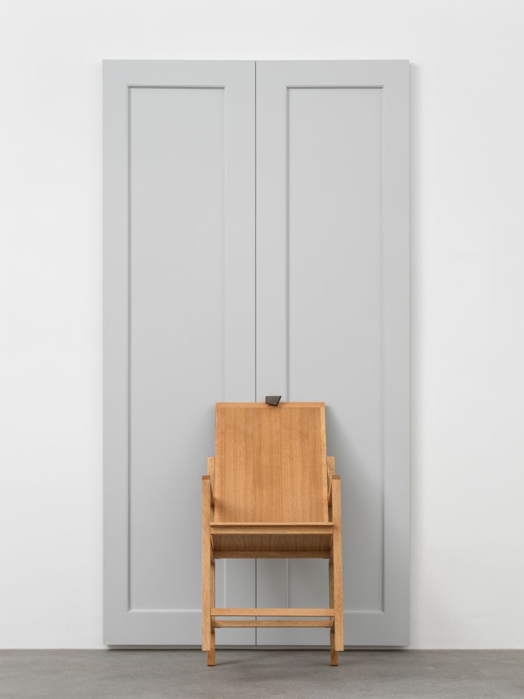 HERE COME THE WAVES 2020 Chair: Sapele and oak veneered mdf Door: Tulipwood and birch ply, welded steel, brass Chair 50.5 x 50 x 82 cm / 19 7/8 x 19 5/8 x 32 1/4 in Door 237 x 124 x 10 cm / 93 1/4 x 48 7/8 x 3 7/8 in