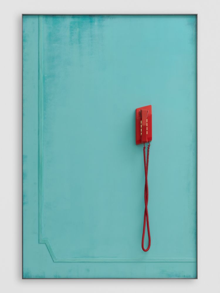 RED TELEPHONE (WAITING) 2020 Patinated steel, etched and painted aluminium, painted silicone moulded vacuum cast resin, coiled cable 167.5 x 111.5 x 11 cm / 66 x 43 7/8 x 4 3/8 in
