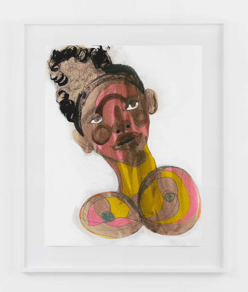 BLACK FACE WITH SWEET PINK  2020  Colored pencil, acrylic paint, gouache, charcoal, graphite, on archival inkjet print  Unique  Sheet 91.5 x 71 cm / 36 x 28 inches  Frame 114.5 x 79.5 x 4 cm / 45 x 31 1/4 x 1 1/2 inches