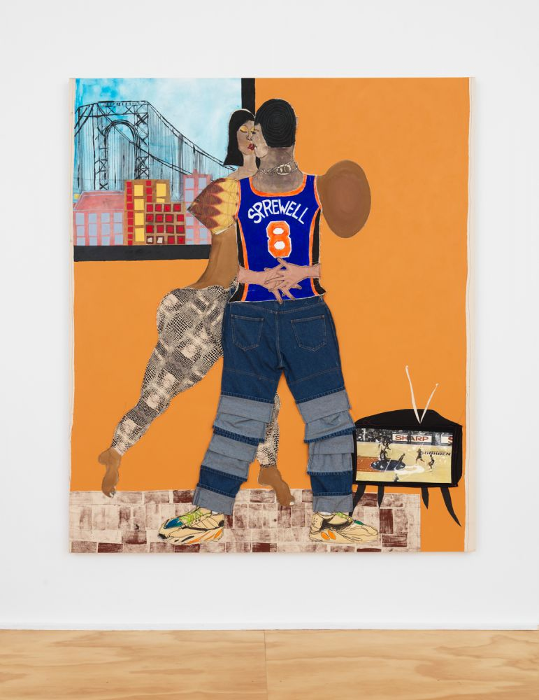 SPREWELL  2020  Fabric, painted canvas, silk, jeans, painted newsprint, paper, stamp, thread, photo transfer and acrylic on canvas  213.5 x 183 x 4 cm / 84 x 72 x 1 1/2 inches