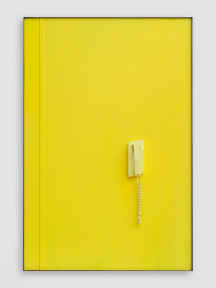 YELLOW TELEPHONE (SLEEPING) FOR JG 2020 Patinated steel, etched and painted aluminium, painted silicone moulded vacuum cast resin, coiled cable 167.5 x 111.5 x 11 cm / 66 x 43 7/8 x 4 3/8 in