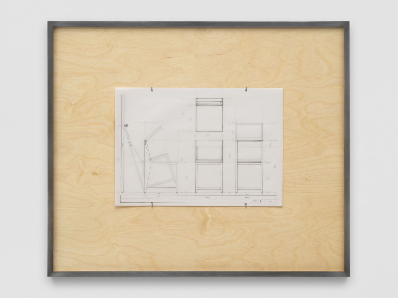 NLF / CH02 2020 Patinated steel, stained plywood, pen, tracing paper 75.5 x 64 x 4 cm / 29 5/8 x 25 1/4 x 1 5/8 in SOLD