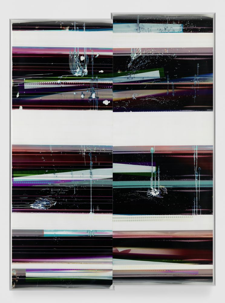 WALEAD BESHTY  Cross-Contaminated RA4 Contact Print  [Black Curl (MYC/Six Magnet/Six Magnet: Los Angeles, California, April 7, 2016, Kodak Professional Ultra Endura N, Em. No. 112-006, Kodak Ektacolor RA Bleach-Fix and Replenisher, 06716), Kreonite KM IV 5225 RA4 Color Processor, Ser. No. 00092174]  2016  Color photographic paper; framed  Image 340.5 x 254 cm / 134 x 100 in  Frame 343.5 x 257 x 16.5 cm / 135 1/4 x 101 1/4 x 6 1/2 in  BESHT42754