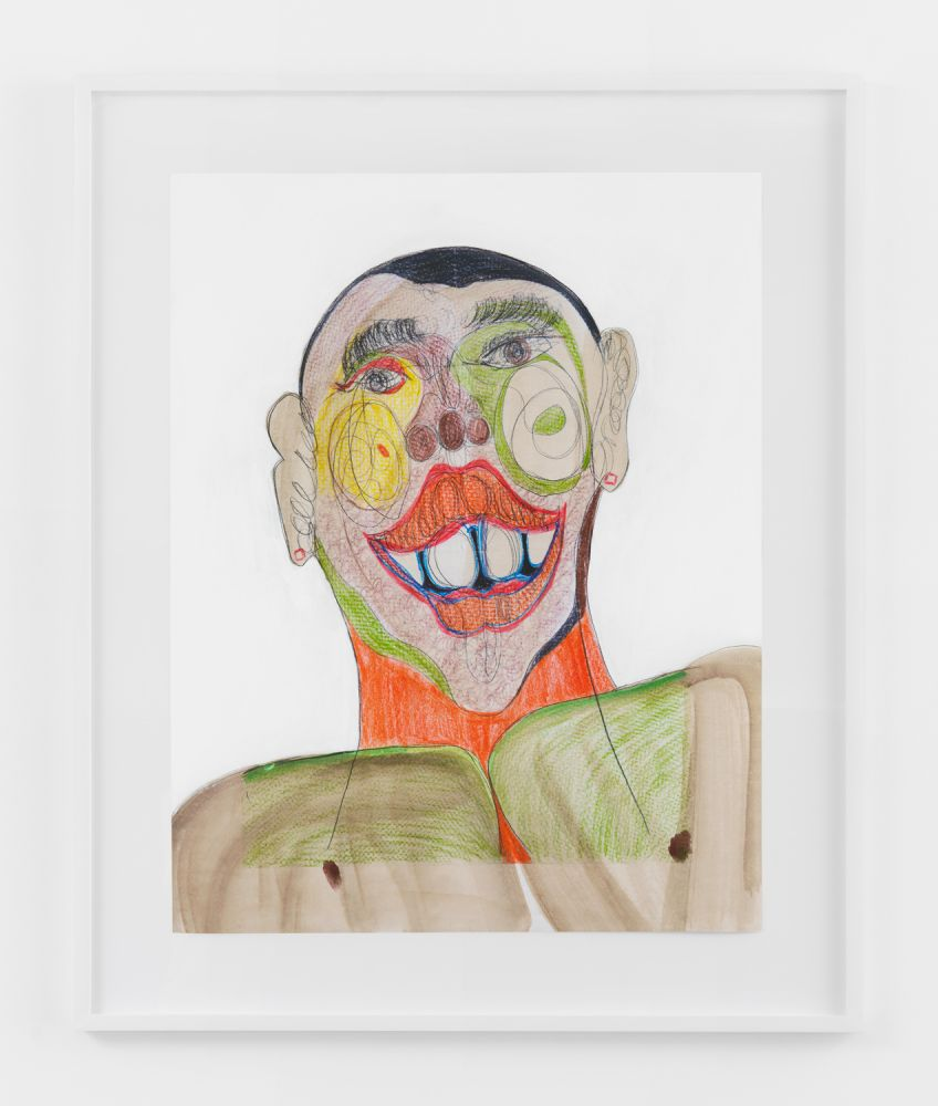 BLACK FACE WITH HAPPY WITH ORANGE NECK  2020  Colored pencil, acrylic paint, gouache, charcoal, graphite, on archival inkjet print  Unique  Sheet 91.5 x 71 cm / 36 x 28 inches  Frame 114.5 x 79.5 x 4 cm / 45 x 31 1/4 x 1 1/2 inches