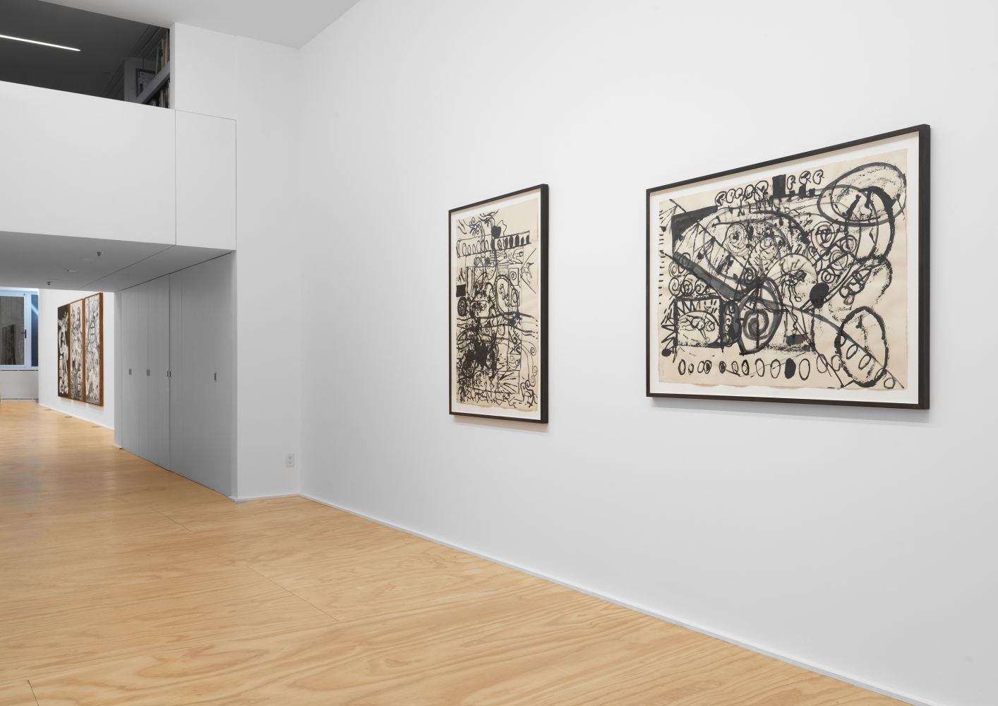 Exhibition View, Tobias Pils, 3 paintings 2 drawings 1 triptych, Eva Presenhuber, NY install 2