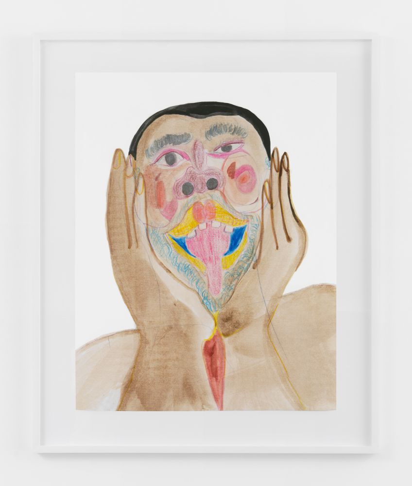 BLACK FACE WITH ANIMATED FACE  2020  Colored pencil, acrylic paint, gouache, charcoal, graphite, on archival inkjet print  Unique  Sheet 91.5 x 71 cm / 36 x 28 inches  Frame 114.5 x 79.5 x 4 cm / 45 x 31 1/4 x 1 1/2 inches
