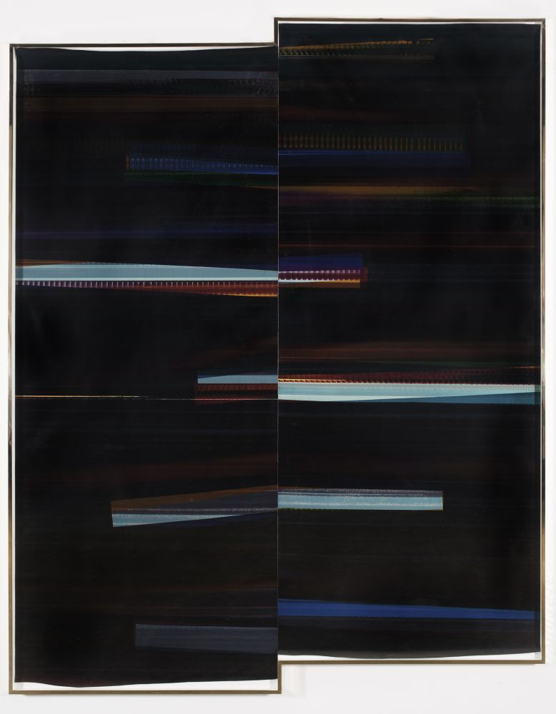WALEAD BESHTY  RA4 Contact Print   [Black Curl (CMY/Six Magnet/Six Magnet: Los Angeles, California, February 19, 2016, Kodak Professional Ultra Endura N, Em. No. 107-016, 03516), Kreonite KM IV 5225 RA4 Color Processor, Ser. No. 00092174]   2016  Color photographic paper; framed Image 304 x 254 cm / 119 3/4 x 100 in Frame 307.5 x 257 x 16.5 cm / 121 x 101 1/4 x 6 1/2 in  BESHT42752