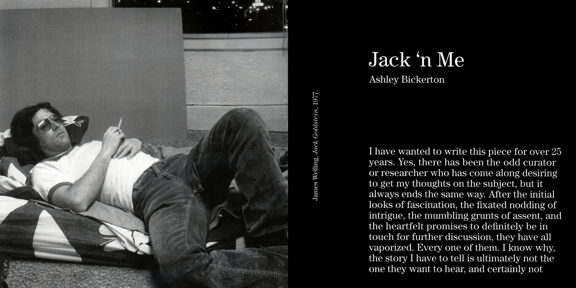 Interior view of Where is Jack Goldstein?, published by Venus Over Manhattan, New York, 2012