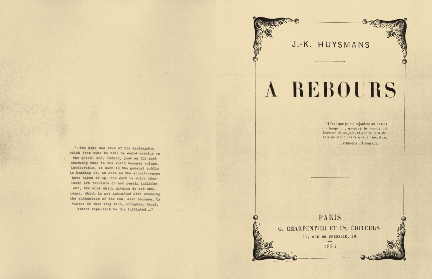 Interior view of À Rebours, published by Venus Over Manhattan, New York, 2012