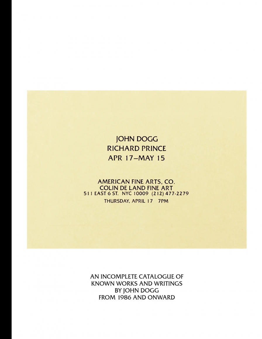 Cover of John Dogg, published by Venus Over Manhattan, New York, 2017