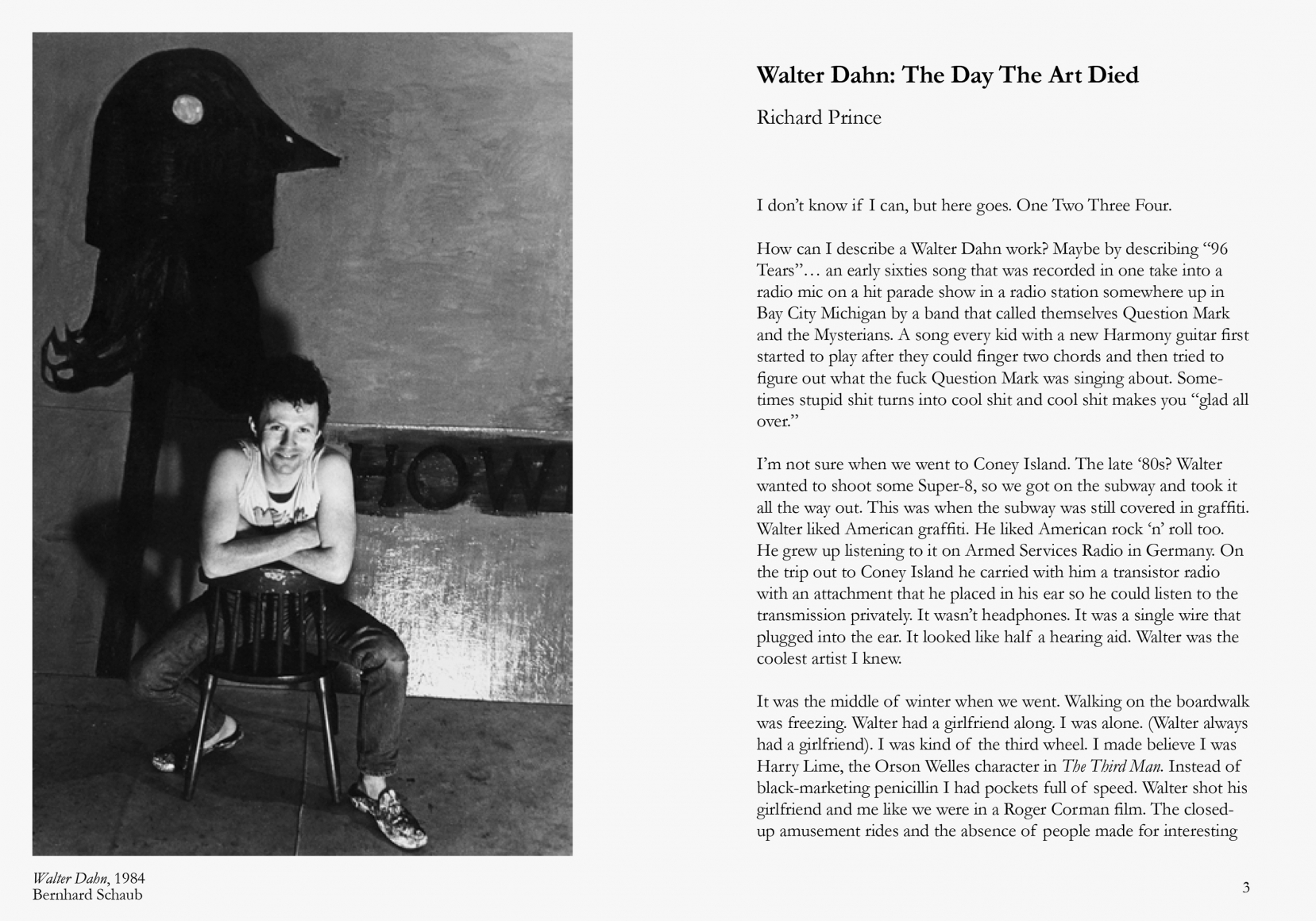 Interior view of Walter Dahn My Back Pages/(4th Time Around), published by Venus Over Manhattan, New York, 2013