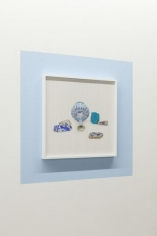 Kamrooz Aram, Ancient Blue Ornament: Still Life with Bottle, 2016 - 2018, Framed archival pigment prints on painted wall, Semi-unique edition of 5 with one Artist Proof of all 5, Each framed photograph: 52.55 x 52.55 cm (detail)
