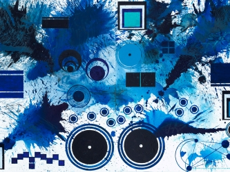 J. Steven Manolis BlueLand Splash 2018, Acrylic on Canvas 60x96 inches