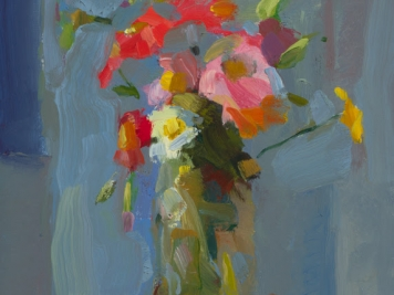 Christine Lafuente, Flowers, Oil On Canvas