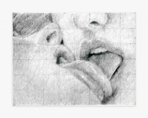 Betty Tompkins Girl On Girl Kiss Grid #1