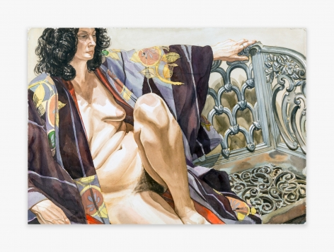 Philip Pearlstein Model in Plum-Colored Kimono Seated on an Iron Bench, 1978