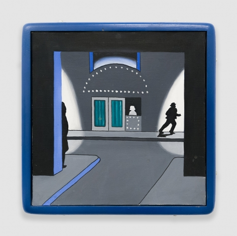 """Roger Brown, """"Runaway,"""" 1968, Oil on canvas, 14 x 14 x 1 3/4 in (35.6 x 35.6 x 4.4 cm)"""