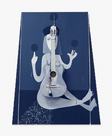 Aaron Wrinkle Narrative Painting 1, Androgynous Figure w/ Guitar, Strumming Device and Cigarette